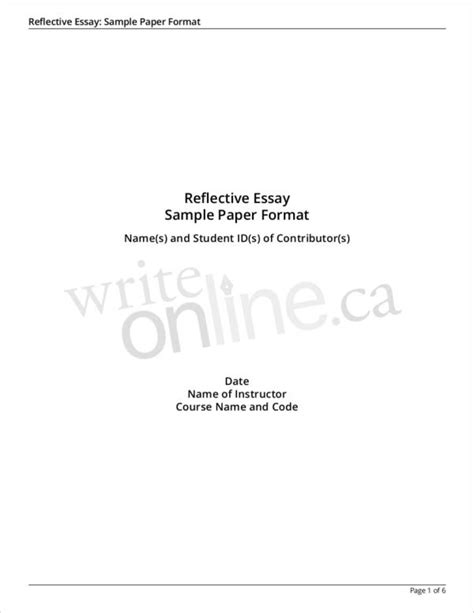 6+ Reflective Writing Samples & Templates – PDF | Sample ...