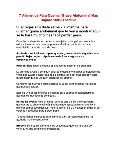7 Alimentos Para Quemar Grasa Abdominal Mas Rapido 100% ...