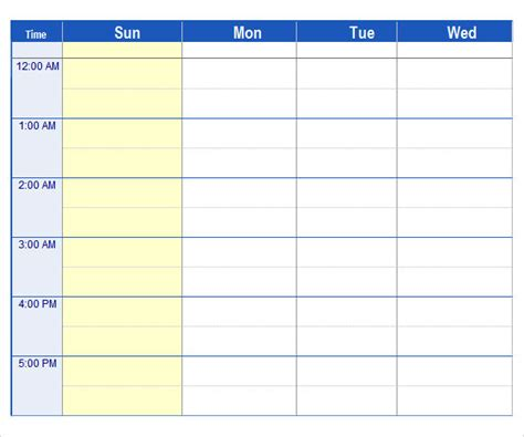 7 Day Week Schedule Template | Calendar Template 2016