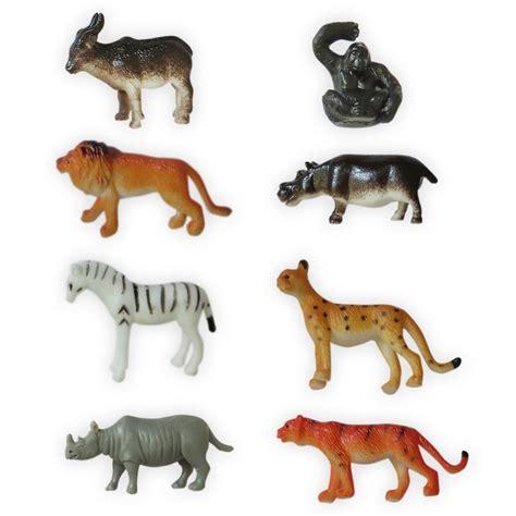 8 Plastic Zoo Figure Jungle Wild Animals Childrens Toys ...