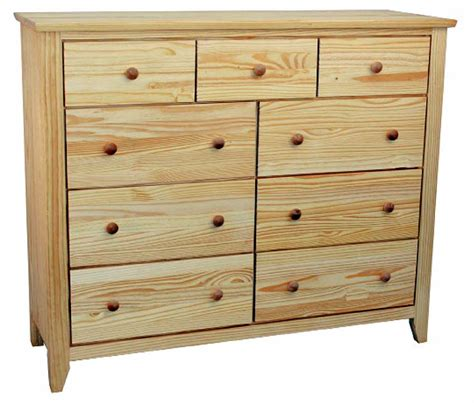 9-Drawer Unfinished Solid Pine Wood Dresser with full ...