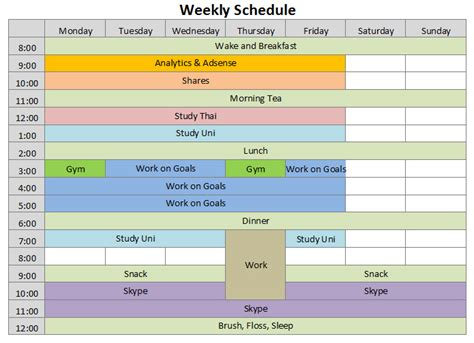 9+ Weekly Schedule Templates - Excel Templates