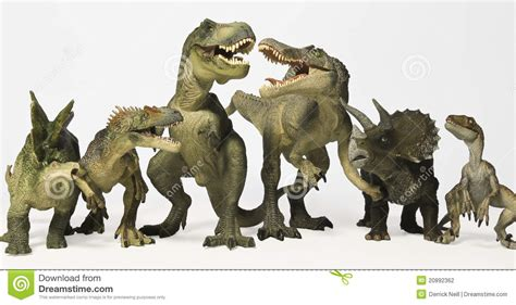 A Group Of Six Dinosaurs In A Row Stock Photo - Image of ...