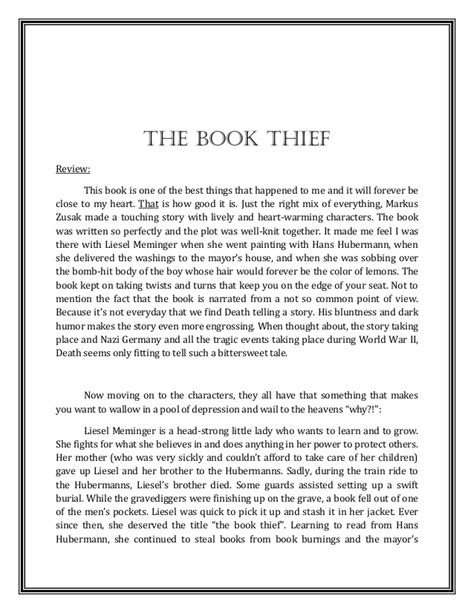 A Review + Reflection on  The Book Thief