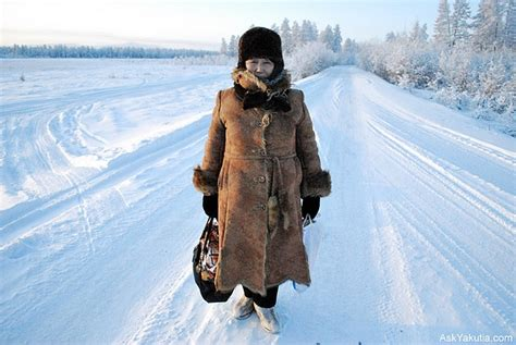 A woman in national cold weather gears. Oymyakon, Yakutia ...