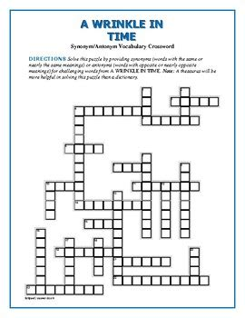 A Wrinkle in Time Synonym/Antonym Crossword—Use with ...