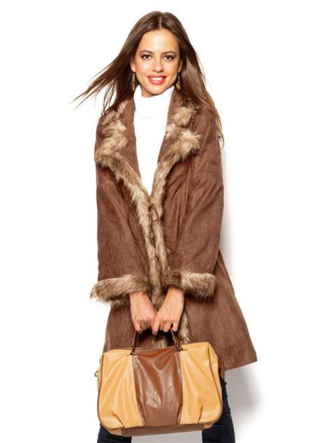 Abrigo mujer con detalles de pelo - Venca - 085421