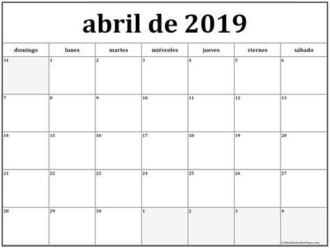 abril de 2019 calendario gratis   Calendario de