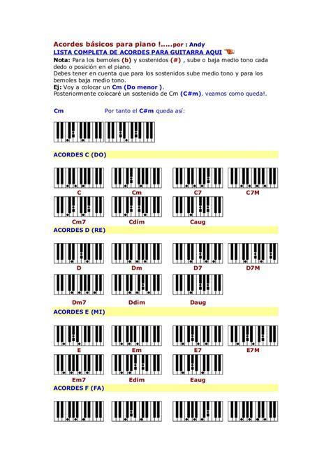 Acordes básicos para piano