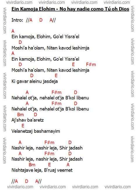 Acordes de la canción Ein Kamoja Elohim - No hay nadie ...