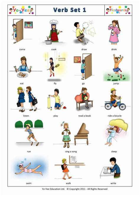 Action Words and Verbs Flash Cards for Kids   Set 1