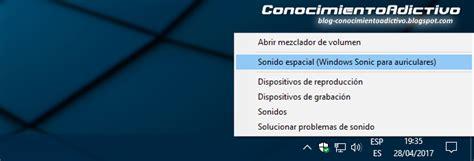 Activar la opción Sonido Espacial en Windows 10 Creators ...