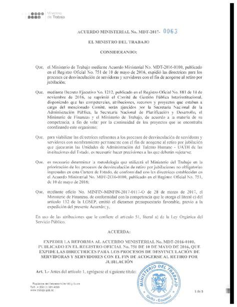 Acuerdo Ministerial Nro. 0063 Ministerio del Trabajo ...