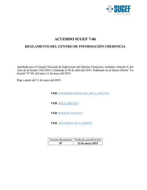 acuerdo sugef 7 06   Superintendencia General de Entidades