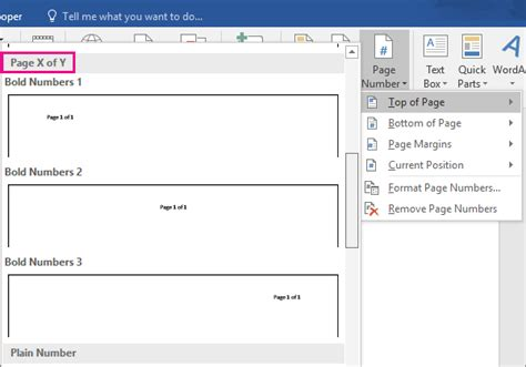 Add page number X of Y to a document - Word