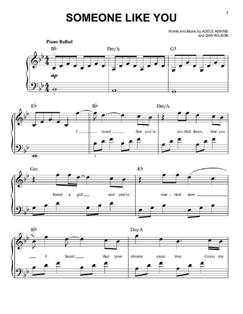 Adele Piano Sheet Music for Best Music Chords | Printable ...