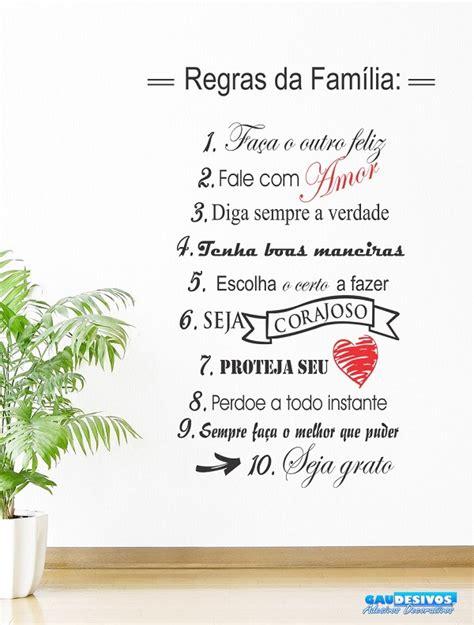 Adesivo Decorativo de Parede Frases Regras da Familia no ...