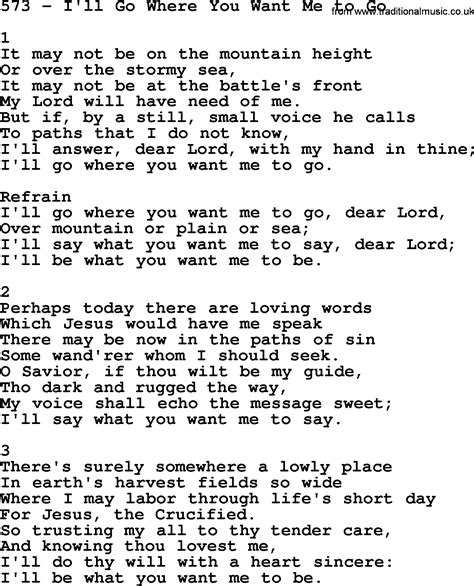 Adventist Hymnal, Song: 573-I'll Go Where You Want Me To ...