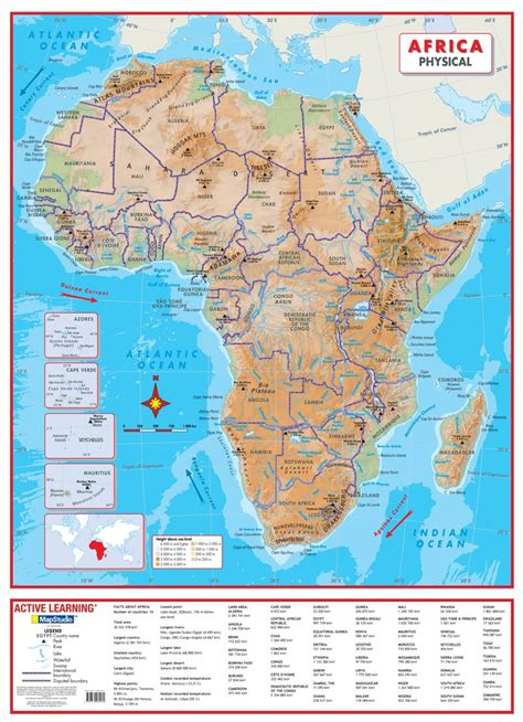 Africa Physical Wall Map a comprehensive physical map of ...