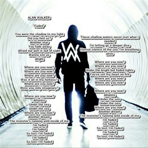 alan walker faded lyric | lyrics song | Pinterest | Alan ...