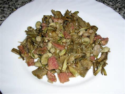 Alcachofas con habas y jamón (microondas)