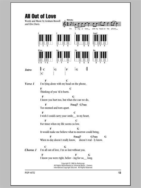 All Out Of Love Sheet Music   Air Supply   Piano Chords/Lyrics