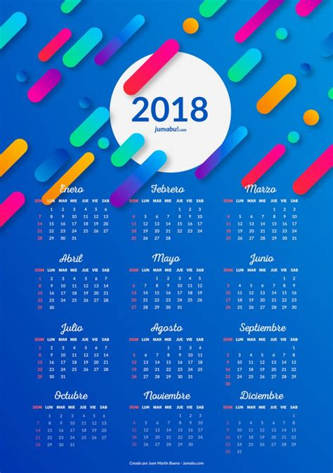 Almanaques 2018 para imprimir gratis   Jumabu