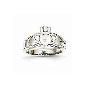 Amazon.com: 14k White Gold Womens Claddagh Ring, Size 7 ...