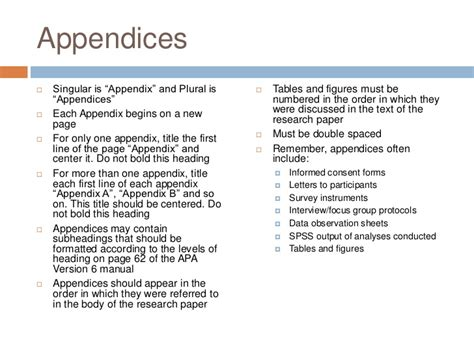 An example of appendix in apa format | Book chapter ...