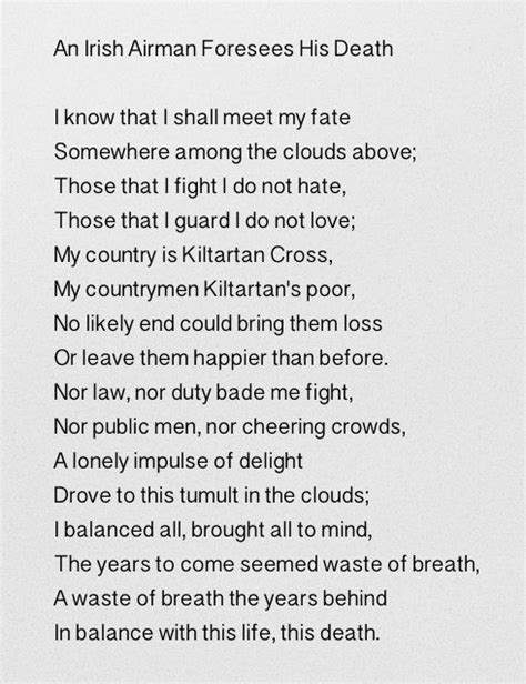An Irish Airman Foresees His Death - William Butler Yeats ...