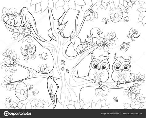 Animales y pájaros que viven en el árbol para colorear ...