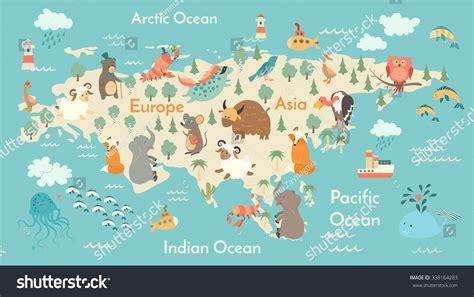 Animals World Map Eurasia Eurasia Map Stock Vector ...