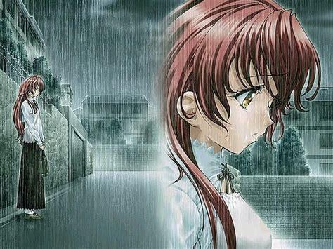 Anime llorando bajo la lluvia   Imagui