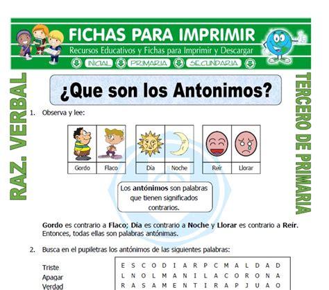 Antonimos En Espanol Para Ninos | www.imagenesmy.com