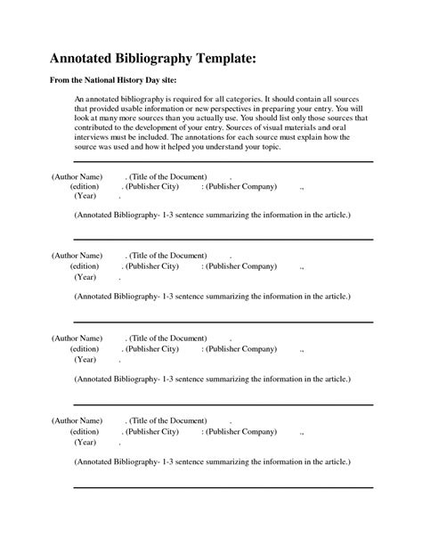 APA Format Annotated Bibliography Example Template