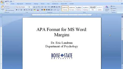 APA Format for Microsoft Word: Margins   YouTube