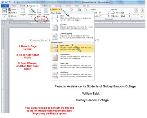 APA Running Header - MS Word 2010 - APA Style Guide ...