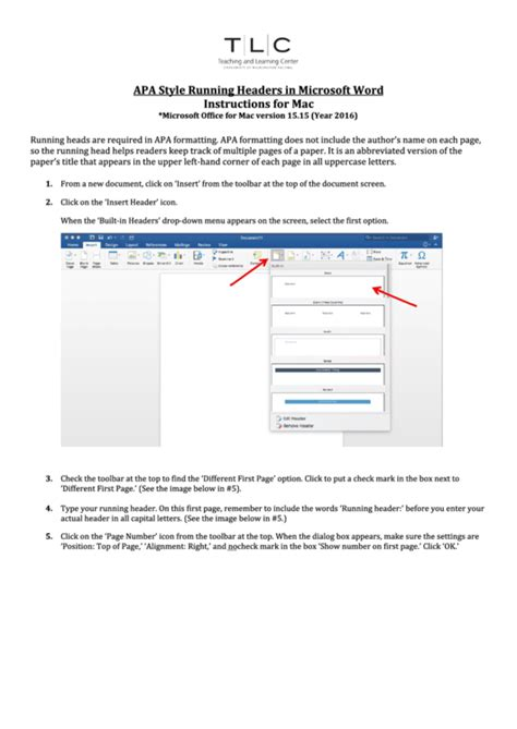 Apa Style Running Headers In Microsoft Word Instructions ...