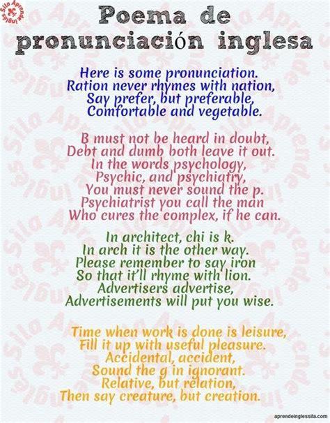 Aprende Inglés Sila on Twitter:  Poema de pronunciación # ...