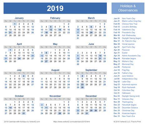 April 2019 Calendar With Holidays | 2018 calendar printable