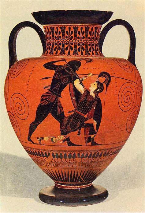 Aquiles matando a Pentesilea Cerámica arcaica Griega ...
