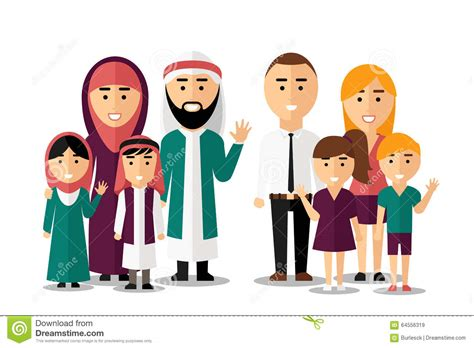 Arab And European Happy Families. Vector Set Of Stock ...