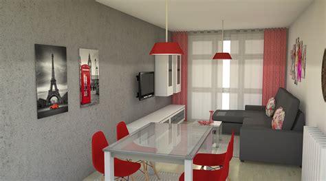 Arantxa Amor decoración.: Salón comedor en rojo y gris