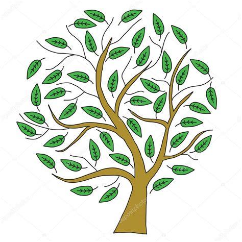 Árbol de dibujo marrón con hojas verdes — Fotos de Stock ...