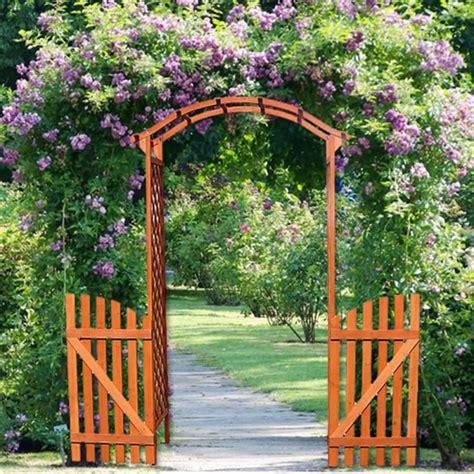 Arco de madera de jardín para plantas o flores con puertas
