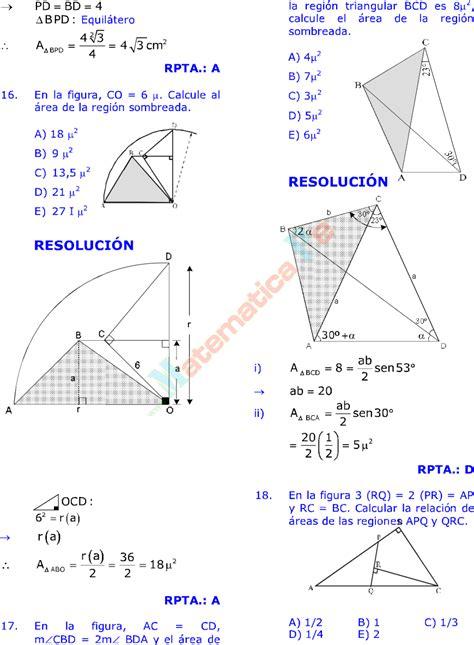 ÁREAS DE REGIONES TRIANGULARES EJERCICIOS RESUELTOS DE ...
