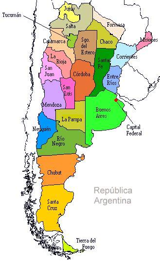 ARGENTINA: Mapa - Provincias Argentinas