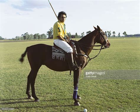 Argentina Near Buenos Aires Male Polo Player And Horse On ...