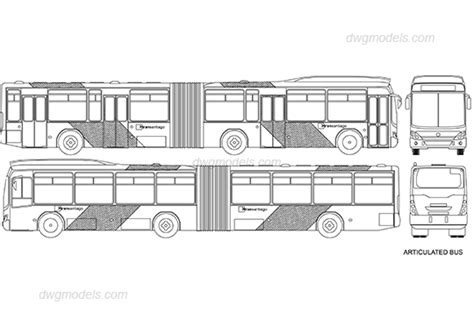 Articulated bus DWG, free CAD Blocks download