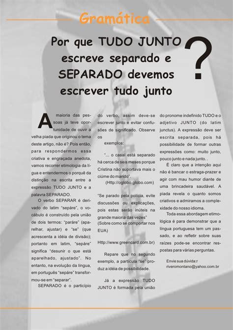 artigo Mieli: Por que  tudo junto  se escreve separado?